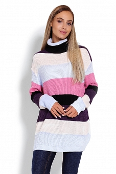 40012 Sweter golf oversize paski multicolor